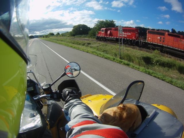 Overtaking a freight train